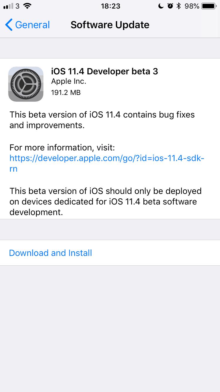 iOS 11.4 Developer Beta 3 released!