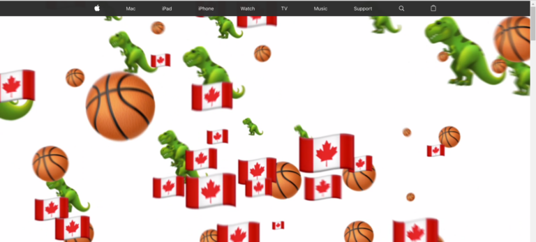 Apple pays a tribute to the NBA 2019 winners, Toronto Raptors on its Canadian homepage