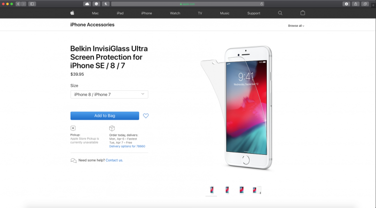Belkin iPhone 8 Screen Protector Updated with 'iPhone SE' support on Apple's website